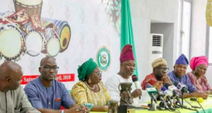 Gov. Amosun(with microphone) and top members of his executives