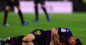 Lionel Messi was left in agony after landing awkwardly on his right arm