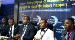 Omojolaibi, Senior Research Economist, Manufacturers Association of Nigeria (MAN); Soji Adeleye, CEO, Alfe City Institution;Teniola, ATCON President, Onyebuchi Iwegbu, Lecturer, University of Lagos; and Segun Adeleye, President/CEO, WorldStage Limited at the WorldStage Economic Summit 2018
