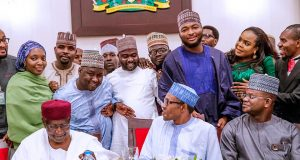 Buhari's Chief of Staff, Abba Kyari, President Buhari and Gov. Yahaya Bello