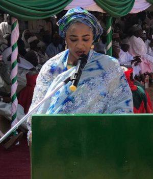 Hansatu Zannah delivering Mrs. Buhari's address.