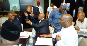 Atiku and other PDP stalwarts at a strategy session in Dubai