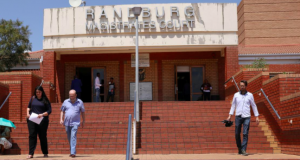 People leave the Randburg magistartes court after the appearance of Anna Britta Troelsgaard Nielsen, a former employee of the Danish National Board of Social Services (Socialstryelsen), in Randburg, South Africa
