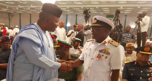 Sen. Godswill Akpabio and Chief of the Naval Staff, Vice Admiral Ibok-Ete Ibas