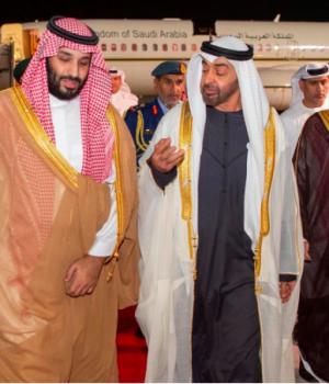 Abu Dhabi's Crown Prince Sheikh Mohammed bin Zayed al-Nahyan receives Saudi Arabia's Crown Prince Mohammed bin Salman Al Saud in Abu Dhabi, UAE,