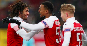 Arsenal forward Joe Willock celebrates scoring his first senior goal for the club