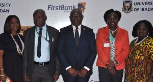 Folake Ani-Mumuney, FirstBank; Prof. A. I. Olayinka, Vice Chancellor, University of Ibadan; Dr. Adesola Adeduntan, MD/CEO, FirstBank; Prof. Olanike Adeyemo, Deputy Vice Chancellor, University of Ibadan and Mrs. Rosie Ebe-Arthur, Group Head, Human Capital Management & Development, FirstBank