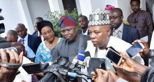 Govs Ambode and Shettima after the reconciliation meeting in Ibadan