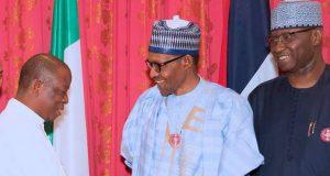 Archibishop. Nicholas Okoh, President Buhari and SGF Boss Mustapha