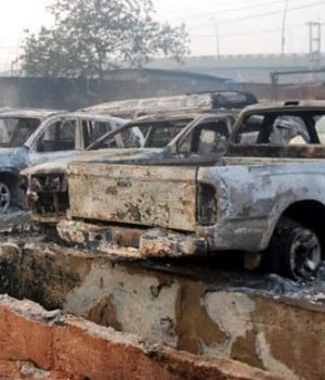 Some of the burnt cars