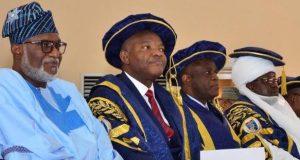 Gov. Akeredolu , Buhari's rep, Dr Noel Biodun Saliu, Vice Chancellor , Prof. Joseph Fuwape , Chancellor , Dr Rilwanu Adamu , Pro chancellor , Senator Joseph Waku