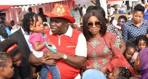 Gov. Ambode, wife, Bolanle with children