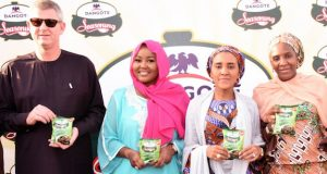 Paul Farer, NASCON allied industries plc, Dangote season's Brand Ambassador, Hadiza Gabon, Fatima Aliko-Dangote, Dangote Industries limited, Executive Director, Halima Aliko-Dangote, at the unveiling of the New Dangote Seasoning Classic Cube, in Kano,