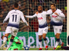 Lucas Moura (centre) scored arguably his most important goal for Tottenham
