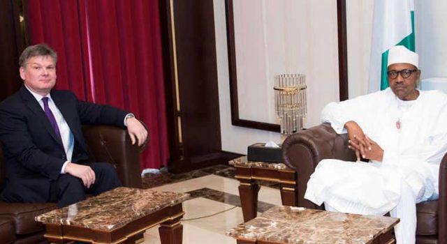 Ambassador of Switzerland to Nigeria, George Steiner with President Buhari