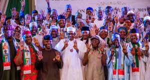 President Buhari with members of the APC Campaign committee