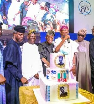 Bisi Akande, joined by VP Osinbajo and other Govs to celebrate 80th anniversary