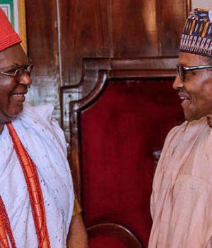 President Buhari with Nnaemeka Achebe, Obi of Onitsha
