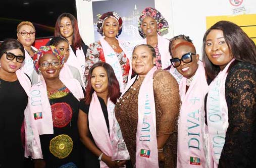 Wife of the APC Governorship Candidate in Lagos State, Dr. Ibijoke Sanwo-Olu with the Wife of the Deputy Governorship Candidate, Mrs. Oluremi Hamzat, during their meeting with female Entertainers