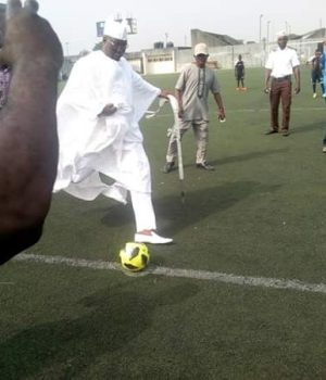 Aare Gani Adams kicking off the tournament