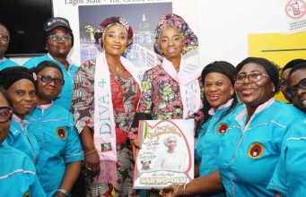 Women entertainers with wives of Sanwo-Olu and Hamzat