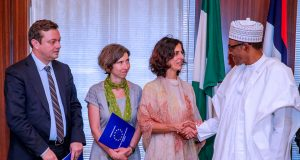 Ms Maria Arena, with members of EU Election monitoring group with President Buhari