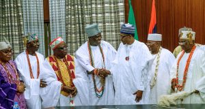 President Buhari with some traditional rulers from the South West