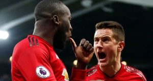 Romelu Lukaku and Ander Herrera after thrashing Newcastle
