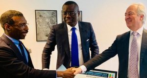 Olusegun Andrew Paul, Executive Vice Chairman, Blackpace Africa, Sanwo-Olu, and Ambassador Ralph Friendlander of Swiss Agency For Development Cooperation