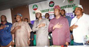 Babajide Sanwo-Olu; his running mate, Dr. Obafemi Hamzat with labour leaders