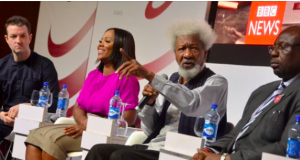 Soyinka, among the panelists speaks on hate speech at an event put together by BBC