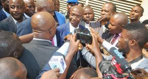 Wole Olanipekun, lead counsel to CJN Onnoghen answering journalists' question