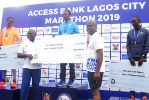 Other winners of the Access Bank Lagos City Marathon with the Gov and Wigwe
