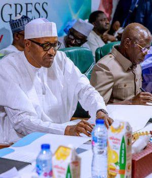 President Buhari and Oshiomhole at the APC National Caucus meeting