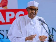 President Buhari at the APC National Caucus meeting
