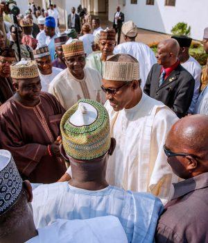 Buhari with ex-military Generals at Aso Villa