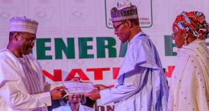 President Buhari receives Certificate of Return from INEC Chairman, Prof. Mahmood Yakubu
