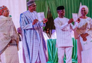 President Buhari with wife along with Prof. Osinbajo and wife received Certificate of Returns