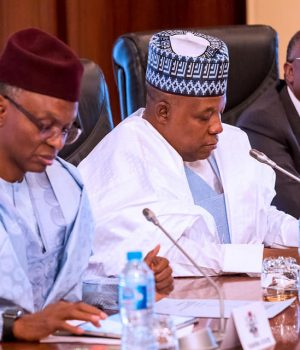 Govs el-Rufai, Kashim Shettima and Bindow at a meeting with President Buhari