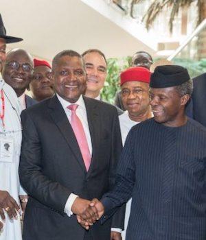 Osinabjo Dangote and Enelamah at the signing of Executive Orders