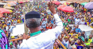 Osinbajo campaigns after the mild air mishap - Photo credit: Novo Isioro