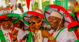 Peter Obi,Secondus and Atiku at the rally in Lagos