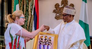 Outgoing Swedish Ambassador to Nigeria, Mrs Inger Ultvedt with President Buhari