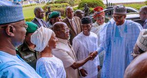 Buhari, Osinbajo, Oshiomhole and Osinbajo's wife, Dolapo