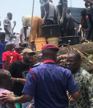 Rescuers at the site of the collapsed Lagos School building