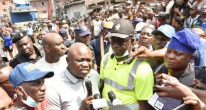 Gov. Ambode at the scene of the collapsed building