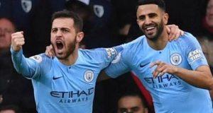 Mahrez celebrates his goal
