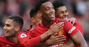 Man United players celebrate victory over Watford