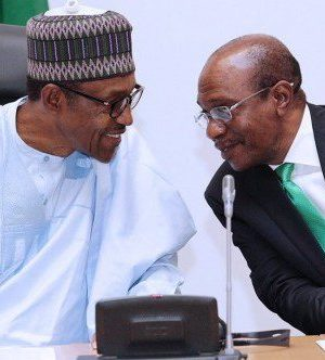 President Muhammadu Buhari and Godwin Emefiele of CBN