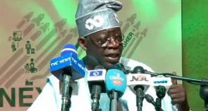 Bola Tinubu speaking at the colloquium to mark his birthday